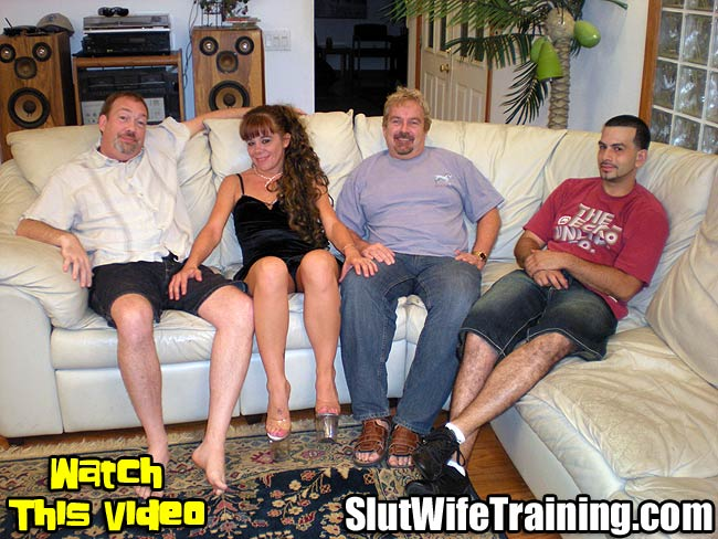 Slut Wife Taking on Three Guys at Once