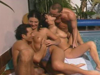 Euro DP Pool Party - This pool party gets pretty heated. There are no bathing suits involved from the start so its all very conducive to dirty action. Well the inevitable happens: the two couple end up banging switching and banging some more. All four people get off and then go back in the pool to cool down just a bit. They all spent a lot of energy in this video.video