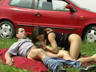 European Brunette Getting Her Pussy Poked at a Picnic - A picnic can never really be innocent can it. This couple pulls over on a grassy field and gets down to business almost immediately. The two do all kinds of dirty sex acts including but not limited to sucking and fucking. The girl gives her partner a nice teasing BJ before she climbs on top of him and begins to fuck his brains out.video