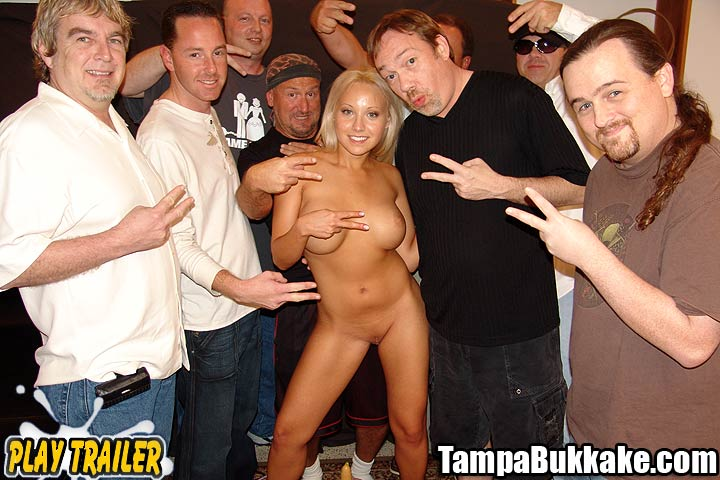 Tampa Bukkake Gang Bangs Jasmine Coating Her in Cum